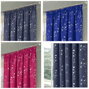 Stars Boys & Girls Bedroom Pencil Pleat Woven Blackout Curtains (Pair of)