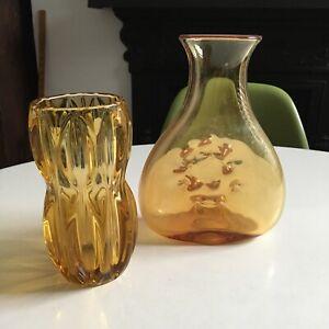 VINTAGE RETRO AMBER ART GLASS CARAFE + VASE SKLO UNION + BLENKO FOR CLEANING