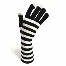Knitted Long Gloves - Black and White Stripe - Winter