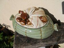 Ancienne Rare terrine Mehun en porcelaine décor trompe oeil châtaignes Marrons
