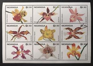 NICARAGUA ORCHIDS STAMPS SHEET 9V 1995 MNH ORCHID FLOWERS NATURE WILDLIFE