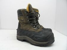 "Dakota Kid's 8"" Leather Steel Toe Work Boot Black/Brown Size 4"