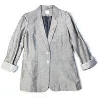 Halogen Womens Size M Blazer Linen Blend 2 Button Lined Pockets Long Length