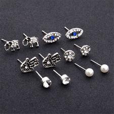 6pair/Set Women Evil eye Fatima Elephant Earring Silver Earrings Ear Studs Gift
