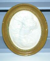 Vintage Oval Plaque TURNER CAMEO GREEK Goddess  Elegant Lady Chalkware Plaster