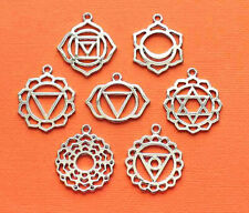 Chakra Charm Collection Silver Tone 7 Charms - COL349
