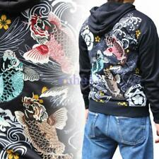 Mens Chic Hoodie Sweatshirt Pattern Embroidered Sukajan Jacket Carp Koi Fish New
