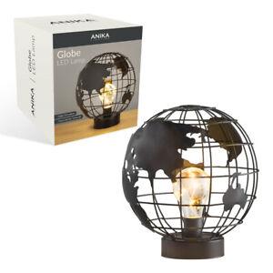 Globe Cage LED Light Table Lamp Desk Bedside Timer Function Black Retro Decor