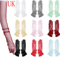 Ladies Long Stretch Tulle Full Finger Gloves Mittens Opera Bridal Evening Party
