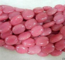 Natural 10x14mm AAA Pink Ruby Morganite Oval Gemstone Jade Loose Bead 15''