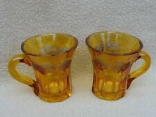 PAIR OF ANTIQUE BOHEMIAN MOSER AMBER GLASS SPA WATER DRINKING GLASSES ENGRAVED