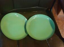2 Vintage Sizzling Plates By Lantoni Green Enameled steak plates