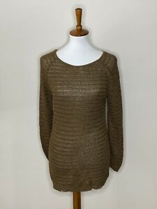 Coincidence & Chance Large Urban Outfitters Brown Open Knit Sweater Long Sleeve