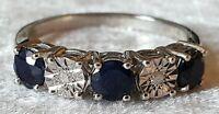 Sterling silver & sapphire vintage Art Deco antique ring - size Q