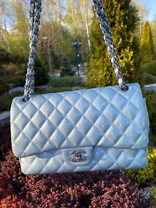 Authentic Chanel blue patent leather classic Jumbo double flap bag