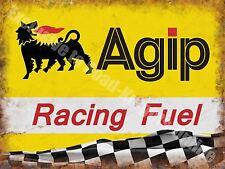Agip Racing Fuel,134 Petrol Motor Oil Vintage Car Motorbike Small Metal/Tin Sign