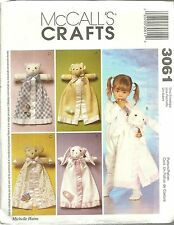 McCALL'S CRAFTS 3061 NEW AND UNCUT PATTERNS BLANKET BUDDIES MICHELLE HAINS NEW!