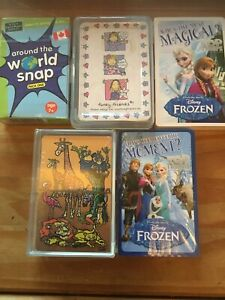 5x PACKS CHILDRENS TOP TRUMPS / PLAYING CARDS - AROUND THE WORLD SNAP,DISNEY