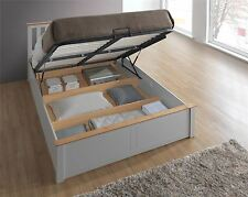 Phoenix Wood Ottoman Bed Frame Gas Lift Storage Double 4FT6 Pearl Grey Oak Solid
