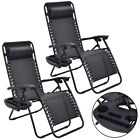 2PC Zero Gravity Chairs Lounge Patio Folding Recliner Outdoor Black W/Cup Holder