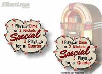 2 Jukebox Nickels or Dime Burst Decals Rock-Ola Wurlitzer Seeburg AMI Stickers