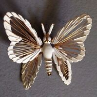 Monet Butterfly Pin White Enamel & Gold Tone Signed Good Condition 1980's