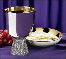 "Nickel Plate Last Supper Catholic Altar Chalice & Bowl Paten 16 oz, 6"" H Gift"