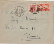 ITALY 10/8/1948 LAST DAY RATE AIRMAIL COVER FROM RIMINI TO FIRENZE
