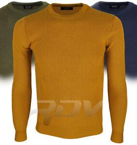 Pullover uomo lana maglione girocollo maglioncino slim fit blu verde M L XL RDV