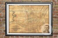 Old Map of Cincinnati, OH from 1838 - Vintage Ohio Art, Historic Decor