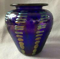 Iridescent Cobalt Blue Art Glass Vase Striated Detail