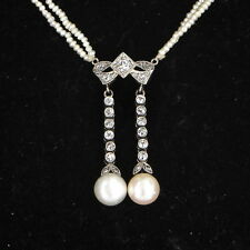 Antique Deco Seed Pearl Diamond Drop Necklace 14k Gold Estate Fine Jewelry