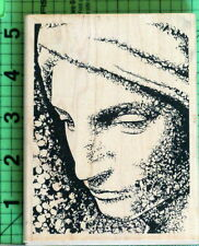Lady's Face with Scarf rubber stamp by Judikins 2442I
