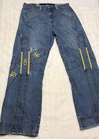 Marithe Francois Girbaud Distressed Baggy Designer Denim Jeans Men's 34M (34X30)