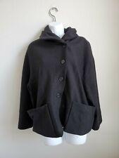 $458 NWT Elemente Clemente Women's Jacket Drama Size 4 Black 100% Wool Button up