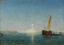 Felix Ziem French 1821-1911 Oil on Canvas Painting seascape in Venice