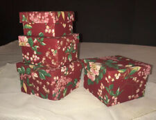 SET OF 2 RED STACKING NESTING BOXES FABRIC COVERED Decorations Gift Baskets Box