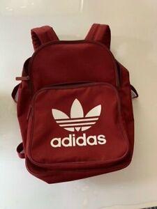 Adidas Originals Classic Trefoil Backpack Vintage Rucksack Bag Red Maroon