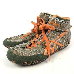 ASICS Aggressor 2 LE Forest Green/Blaze Orange/Camo Realtree Shoes Men 8 Wrestle