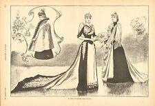 Winter Toilettes, Victorian Ladies Fashion, Cloak Vintage 1890 Antique Art Print