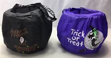 Halloween Trick Or Treat Bags Black Ghost Purple Witch Wired Nylon Handle Candy