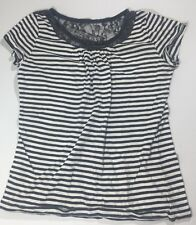 Ann Taylor Loft Womens Short Sleeve Stripe Shirt Lace Neck Grey White Size Med