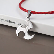 Ninja Shuriken Tribal Pendant New Red Braided Leather Necklace Silver Stainless