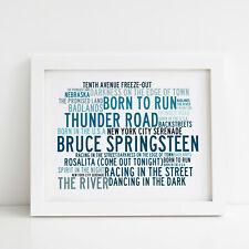 Bruce Springsteen Poster, Greatest Hits, Framed Original Art, Album Lyrics Print