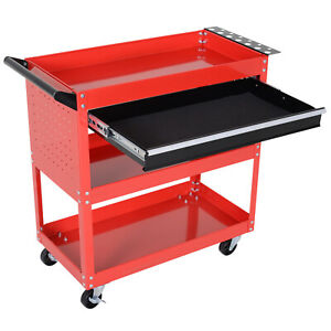 Tool Storage Cart Portable Workshop Trolley Cabinet Garage Supply Drawer Wheels