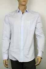 12eb7c84a New Gucci Mens Classic Button-Down Dress Shirt w/Horsebit Light Blue 318134  4868