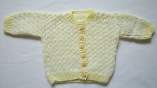 Hand Knitted Baby Girls Yellow Cardigan age 3-6 months NEW