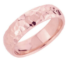 Rose Gold Hammered Classic Comfort Fit Round Edge 5.5 mm Wedding Band