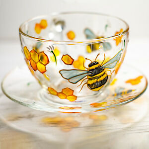 Bee Tea Cup and Saucer, Tea Set Hand Painted, Personalized Mother's Day Gift