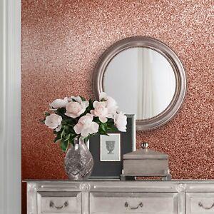 Muriva Celestia Oriah Textured Sparkle Glitter Wallpaper Rose Gold Silver White